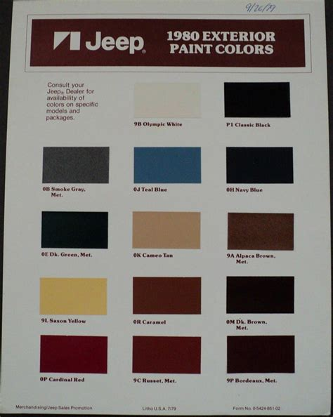 1980s colors 1980 jeep exterior paint chips page