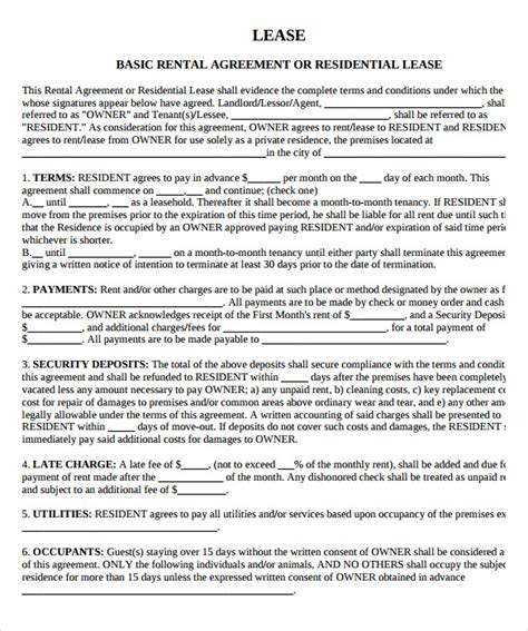 rental property lease template sle property lease agreement template 8 documents in pdf