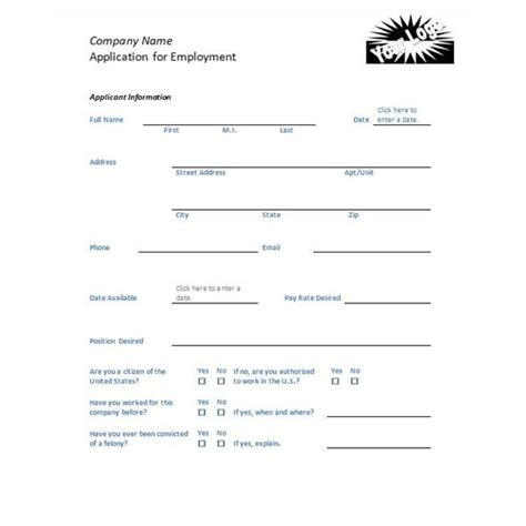 temporary employment application template employment