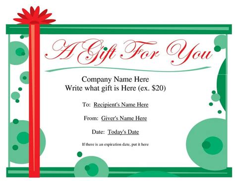 printable gift certificate template  christmas gift certificate templates christmas
