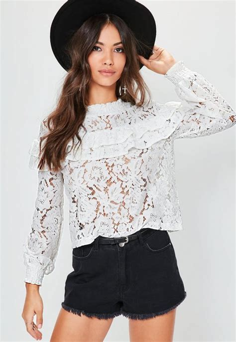 White Tops And Blouses Uk by White High Neck Lace Frill Blouse Missguided