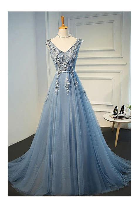 gorgeous dusty blue  neck long lace prom dress  open