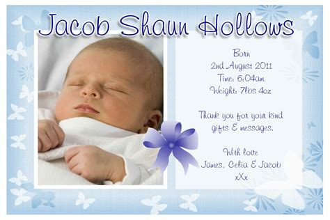 birth announcement cards template free sle invitation new born baby image collections