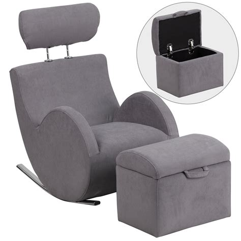 chair with storage ottoman hercules series gray fabric rocking chair with storage ottoman