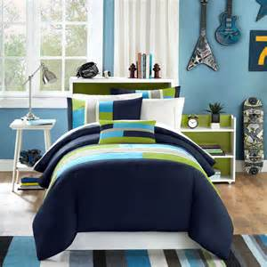 Twin Bedding Sets For Boy Modern Soft Navy Teal Aqua Blue Grey Stripe Boy Comforter