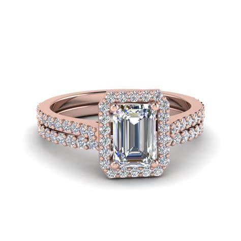 emerald cut pave halo bridal set in 14k