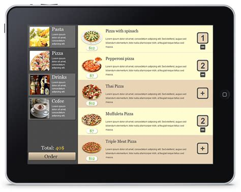 restaurant menu layout apps build html5 based menu app for ipad with dhtmlx touch