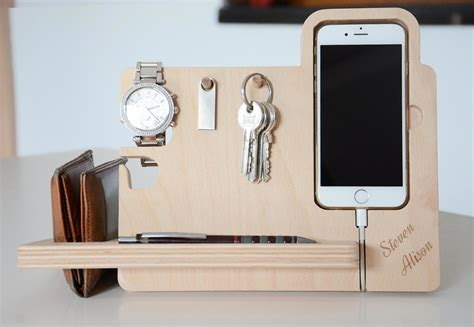 desk phone stand organizer wooden iphone6 plus personalized docking station