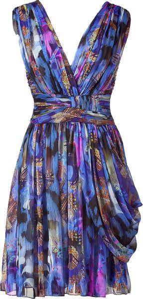Matthew Williamson Lotus Chiffon Dress by Matthew Williamson Draped Silk Chiffon Dress In Blue Lyst