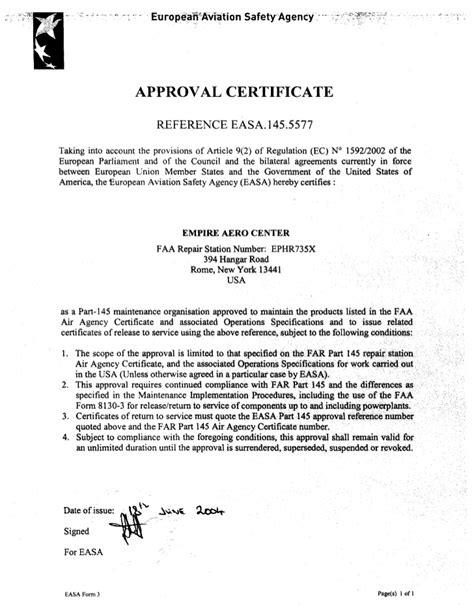 EAC FAA 145 EASA 145 ISO9001