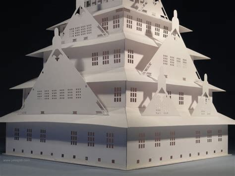 pop up card osaka template the osaka castle pop up card kirigami origamic
