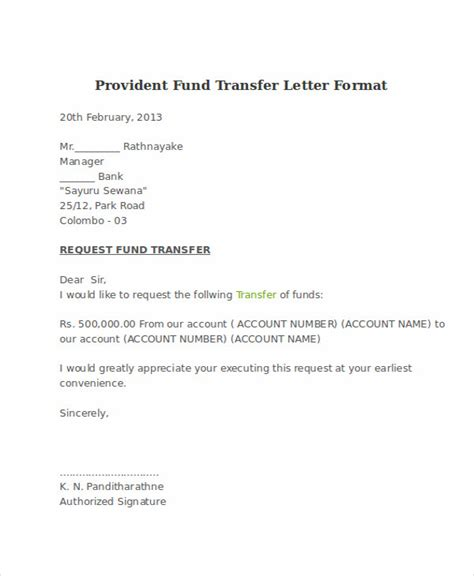 pf hearing authorization letter format fund transfer letter template 9 free word pdf format