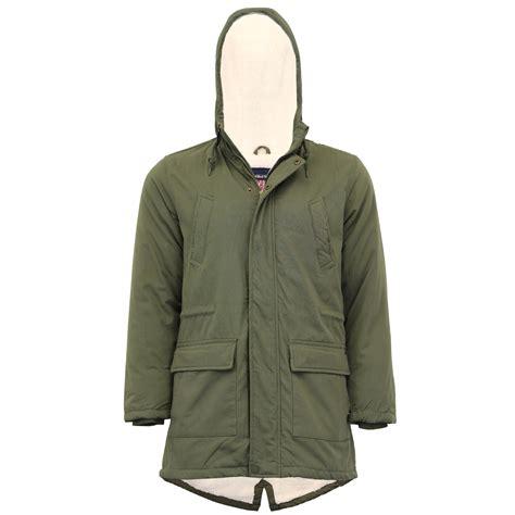 Hooded Fishtail Jacket mens jacket tokyo laundry parka coat hooded sherpa lined