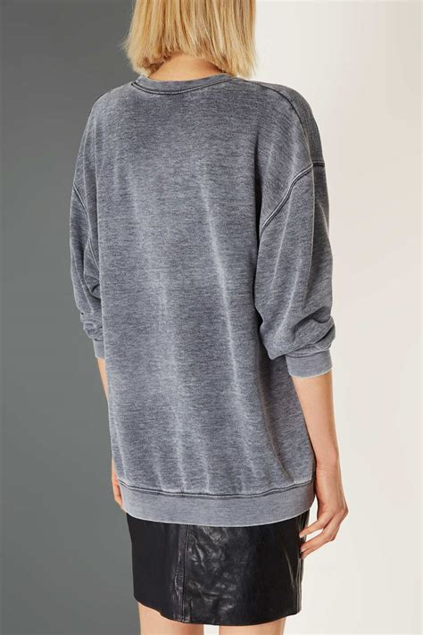 Sweater Topshop Topshop Acid Wash Sweater By Boutique In Gray Lyst