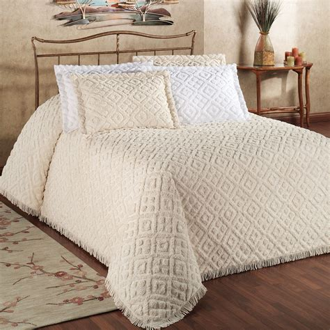 bed spreds diamond cotton chenille bedspread bedding
