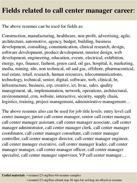 top 8 call center manager resume sles