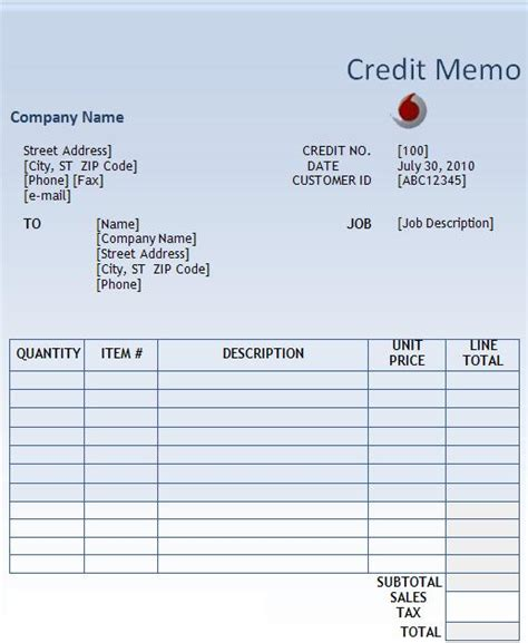 Company Credit Note Format Business Templates Free Word S Templates