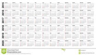 Gabon Kalendar 2018 Kalender 2015 2016 2017 2018 2019 2020 Vector Illustratie