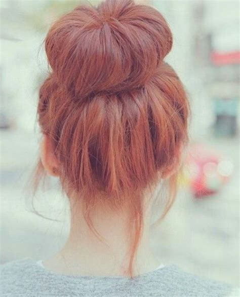 red braids in a bun casual red hair bun red hair pinterest hair buns