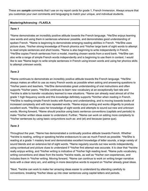 end of year report card template pin by clarissa david on report card comments
