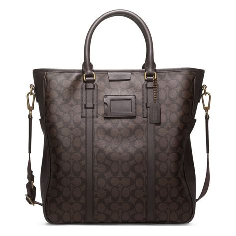 Tote In Signature 54690 Brown lyst coach bleecker signature monogram tote in brown for