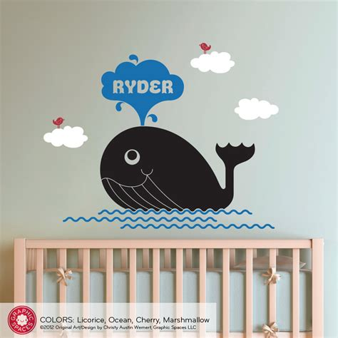 Whale Nursery Wall Decal Ocean Decor Kids By Graphicspaces Etsy Nursery Wall Decals