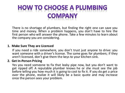 How To Start A Plumbing Business With No Money by How To Choose A Plumbing Company