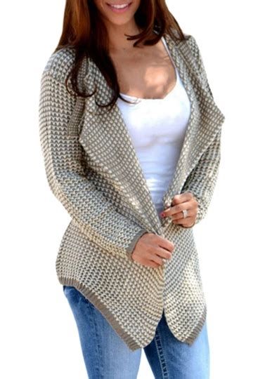Import Khaki Simple Cardigan womens sleeve irregular cardigan sweater khaki pink
