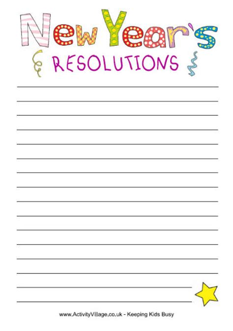 new years resolution worksheet 5 best images of printable new year s resolution template