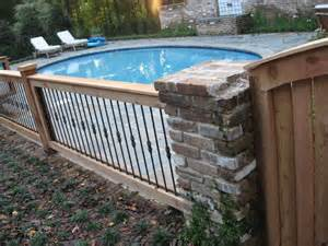 Decorative Pool Fence Ideas Wrought Iron Fence With Wood Posts Outdoor Living
