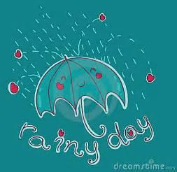 Funny illustration of a smiling umbrella under the rain vector