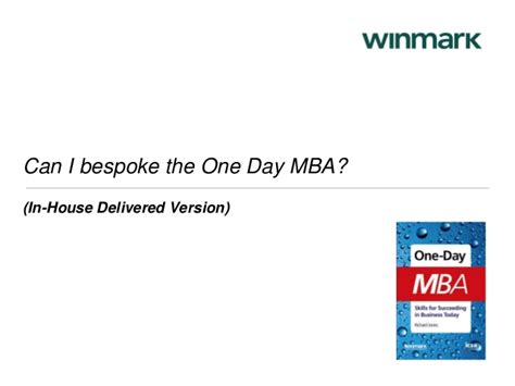 Mba One Day by One Day Mba 2014 By Winmark Professional Learning And