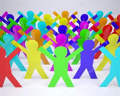 imagenes animadas a color muchas personas silueta de color de dibujos animados