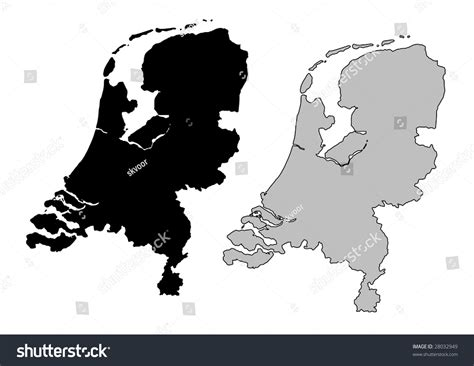 netherlands map black and white netherlands map black white mercator projection stock