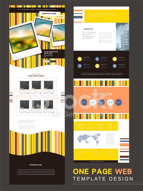 modern one page website template design stock photos