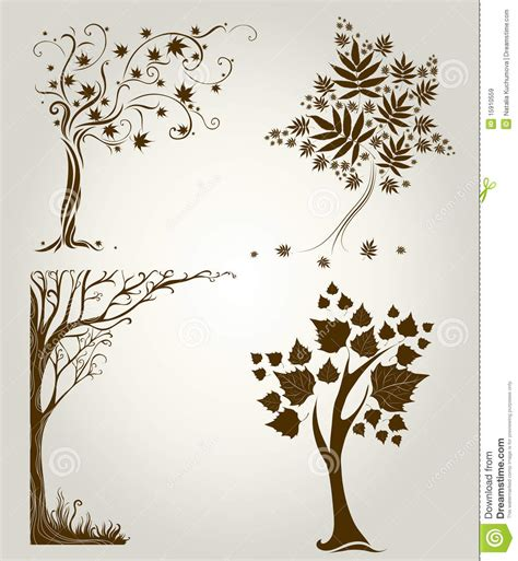 designs with decorative tree from leafs royalty free stock