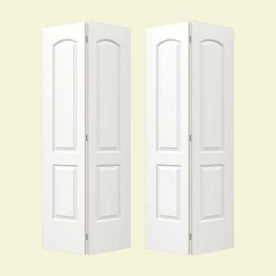 2 Panel Bifold Closet Doors Jeld Wen Smooth 2 Panel Arch Top Painted Molded Interior Bifold Closet Door Thdjw160100109 On