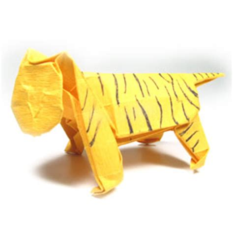 3d Origami Tiger - how to make a standing origami tiger page 45