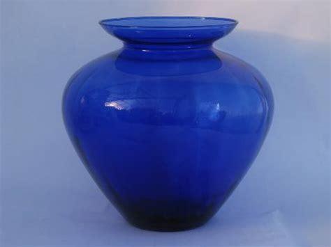 Big Blue Glass Vases Blown Swirled Cobalt Blue Glass Big Hora Urn Vase
