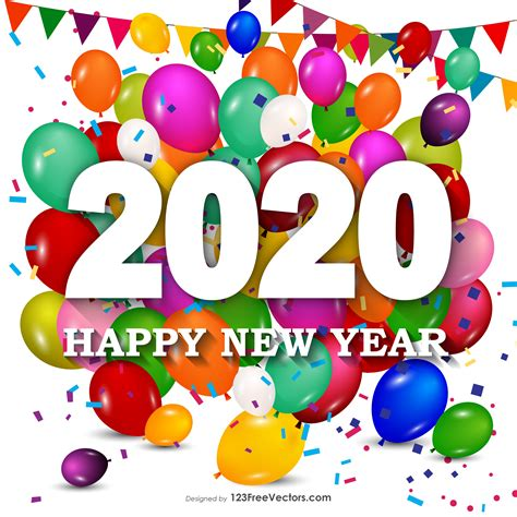 happy  year  colorful balloons background