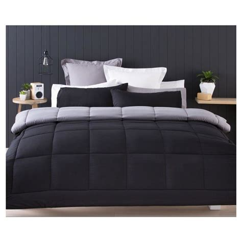 reversible comforter set single bed black kmart
