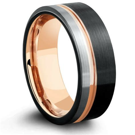 Triple Tone Rose   Men's Three Tone Tungsten Wedding Band