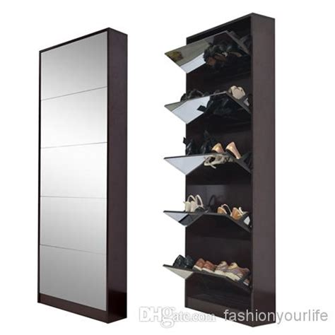 Wood Mirrored Shoe Cabinet Shoe Rack With 5 Layers Shoes ... Jewelry Armoire With Mirror