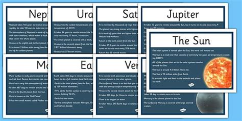 solar system fact cards template solar system facts display posters solar system sun system