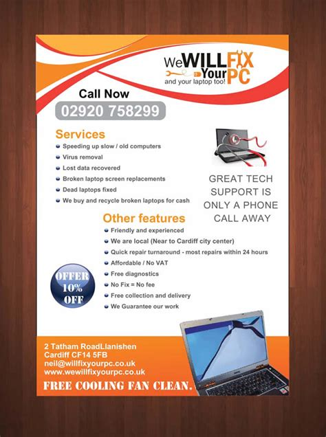 leaflet design service bold modern flyer design for we will fix your pc by sbss