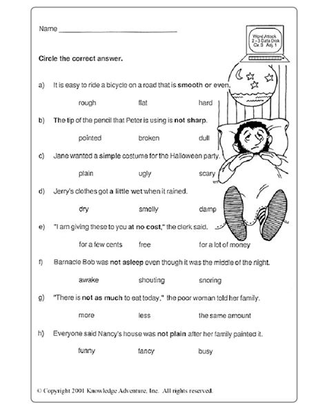 3rd Grade Vocabulary Worksheets by Reading Worksheet For Grade 1 Pdf Configuration Reading