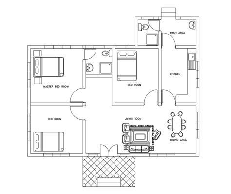 house plan dwg three bed room small house plan dwg net cad blocks and