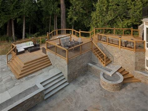 hillside haven with two levels of outdoor living hwbdo76794 a 129 best images about multi level deck on pinterest back