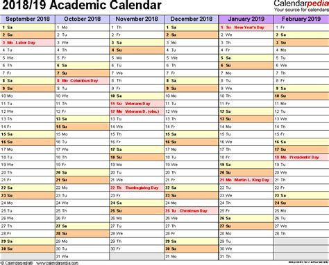 Excel Calendar Template 2018 2019 academic calendars 2018 2019 free printable excel templates