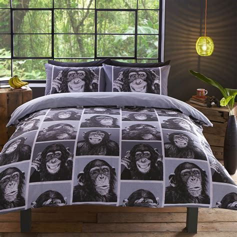 monkey bedding cheeky monkey monochrome black and white chimpanzee design
